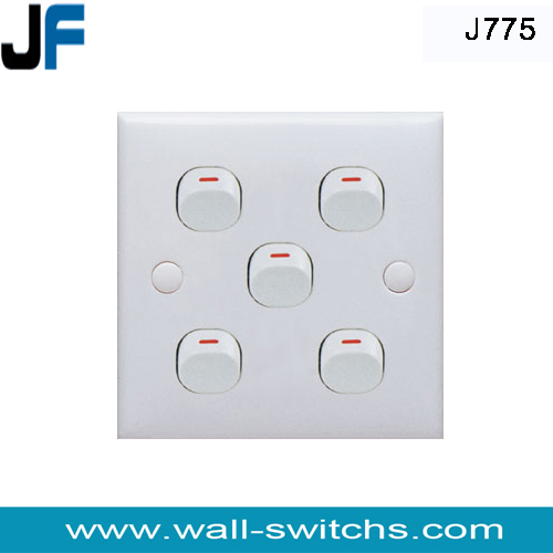 J775 Five Gang One Way Switch Pakistan Electrical Wall