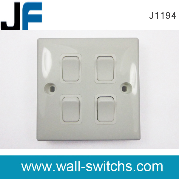 J1194 four gang switch Malaysia PC white colour 4 gang 1 way wall